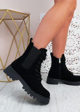 Felicity Black Zip Ankle Boots