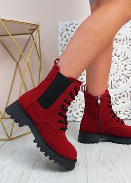 Felicity Wine Zip Ankle Boots