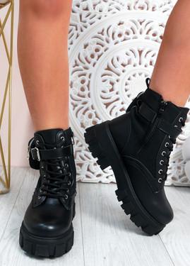 Leonie Black Mid Heel Ankle Boots