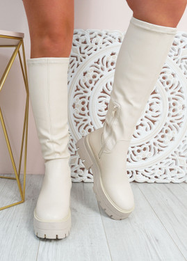 Claudia Beige Knee High Chunky Boots