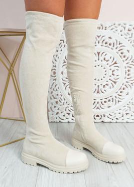 Demi Beige Thigh High Boots