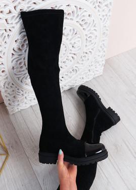 Demi Black Thigh High Boots