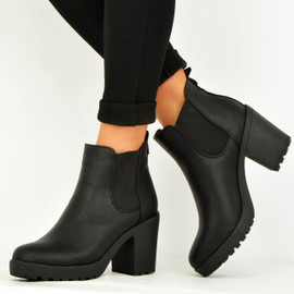 BLACK PU CHUNKY BLOCK HEEL ANKLE BOOTS