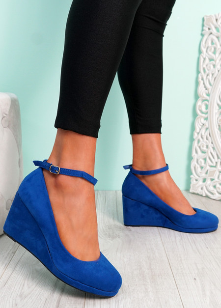 Navy Suede Ankle Strap Wedge Pumps Sandals