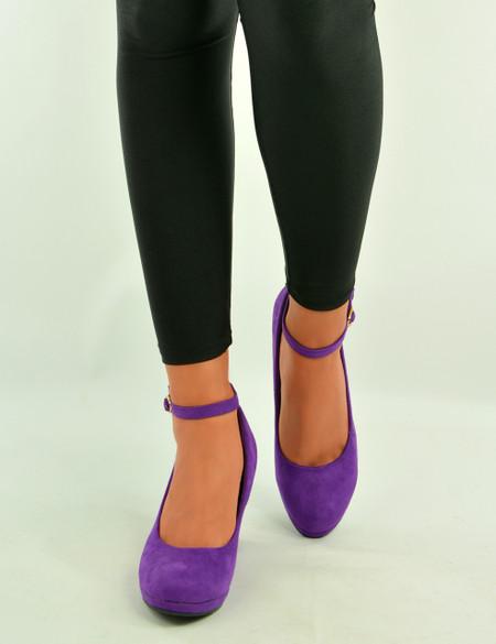 Lorene Purple Suede Wedge Pumps Sandals