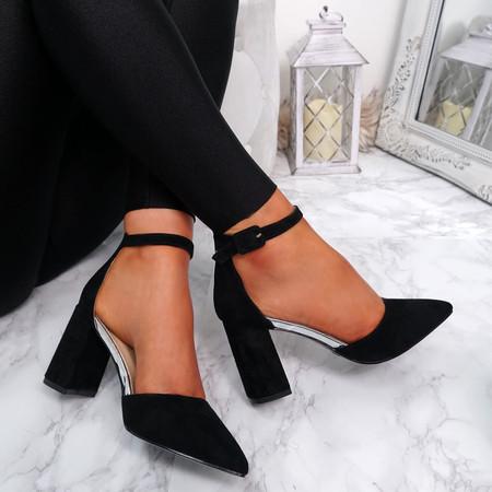 Amara Black Block Heel Pumps