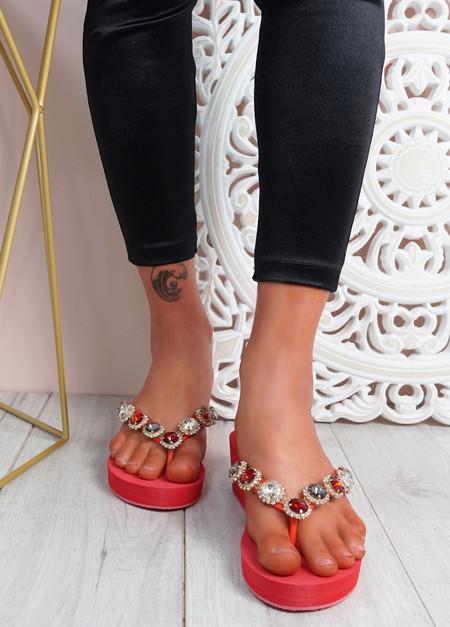 Marin Red Rhinestone Sandals