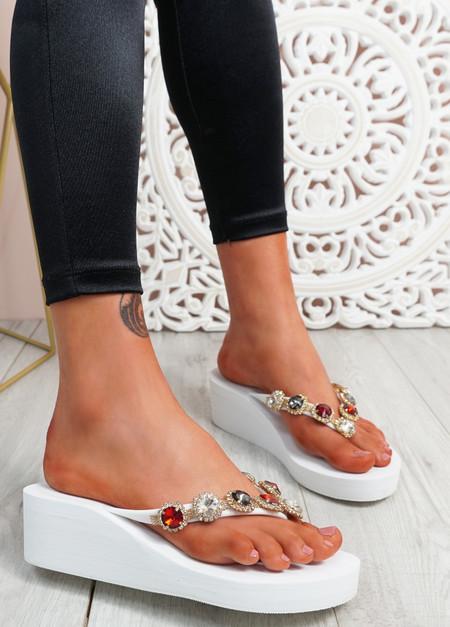 Marin White Rhinestone Sandals