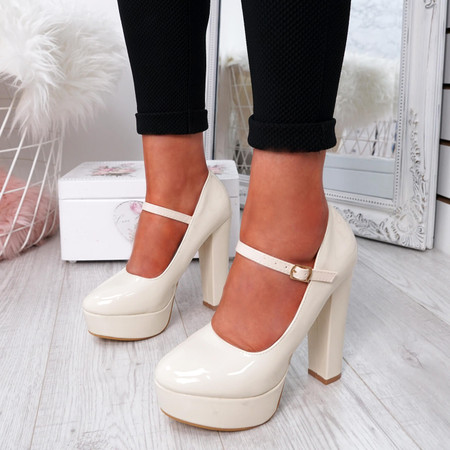 Serette Beige Block Heel Pumps