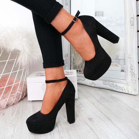Onisse Black Suede Block Heel Pumps
