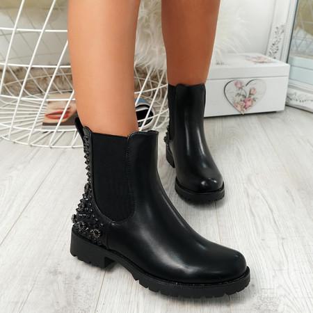 Bavva Black Pu Studded Ankle Boots