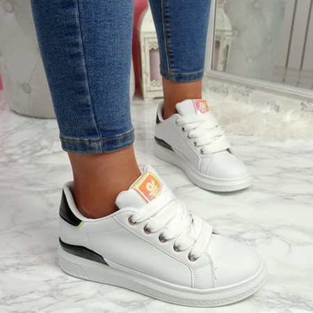 Semma White Black Lace Up Trainers