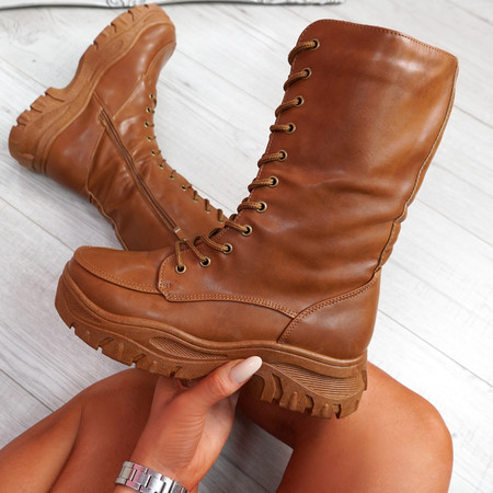 Yona Camel High Top Biker Ankle Boots