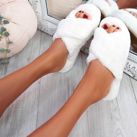 Monny White Fluffy Sliders