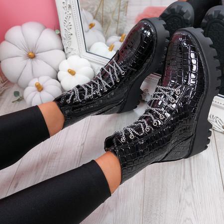 Zanna Black Croc Chunky Ankle Boots