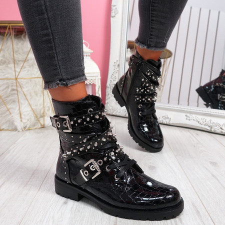 Bavy Black Patent Croc Studded Ankle Boots
