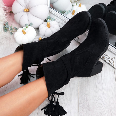 Callo Black High Top Tassel Ankle Boots