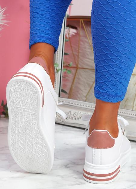 Nymo White Pink Platform Trainers