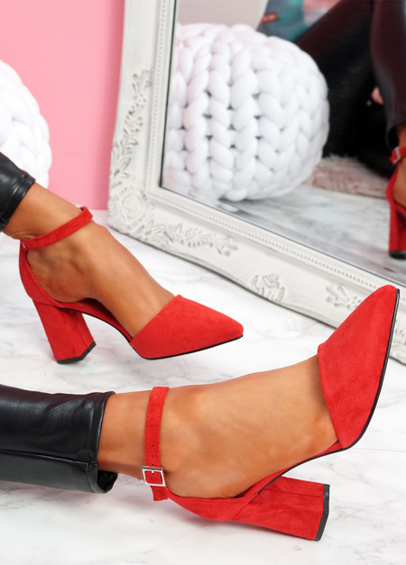 Pamma Red Ankle Strap Pumps