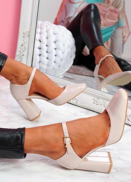 Mirro Beige Mary Jane Block Heel Pumps