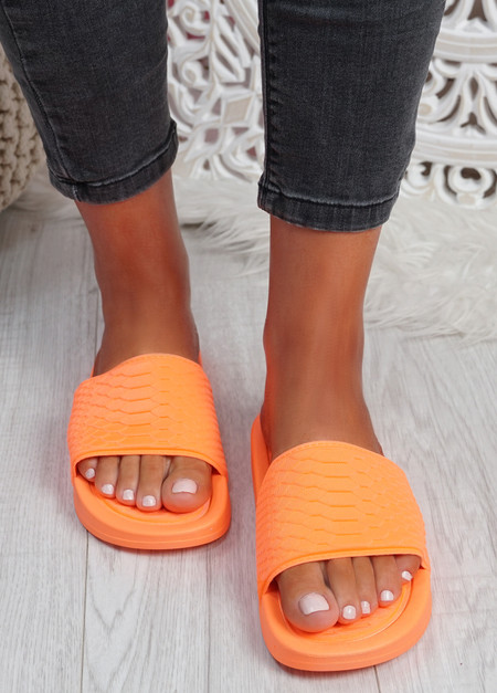 Soha Orange Flat Sandals Sliders