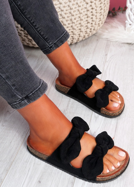 Hogy Black Bow Flat Sandals