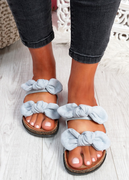 Hogy Blue Bow Flat Sandals