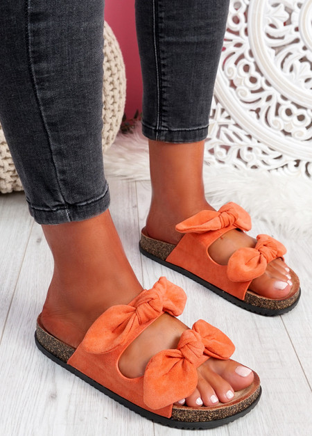Hogy Orange Bow Flat Sandals
