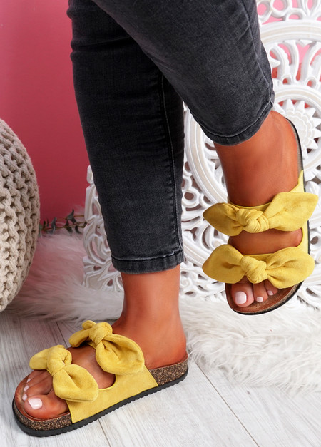Hogy Yellow Bow Flat Sandals