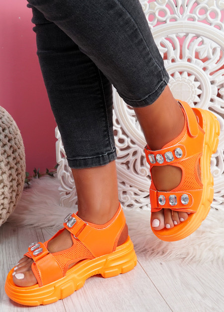 Aleha Orange Rhinestone Chunky Sandals