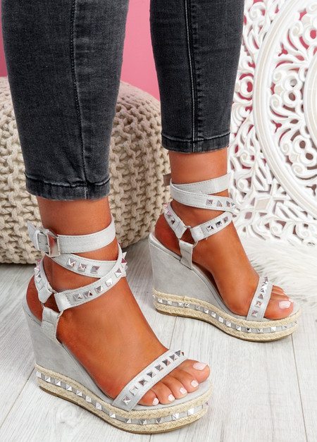 Numy Grey Wedge Rock Studs Sandals