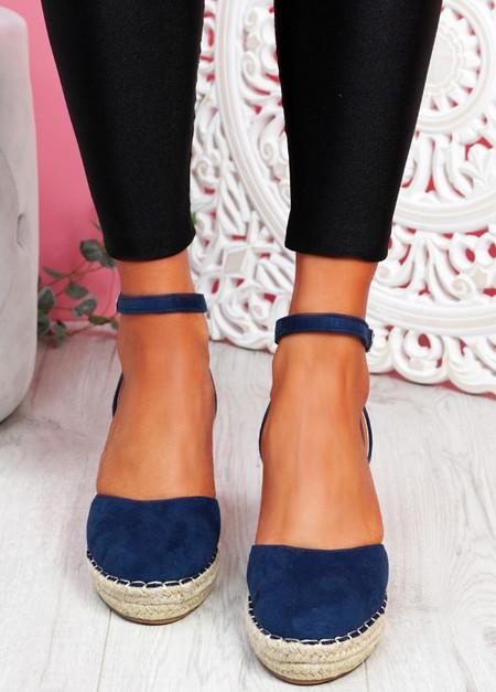 Tifa Dark Blue Wedges Platform Sandals