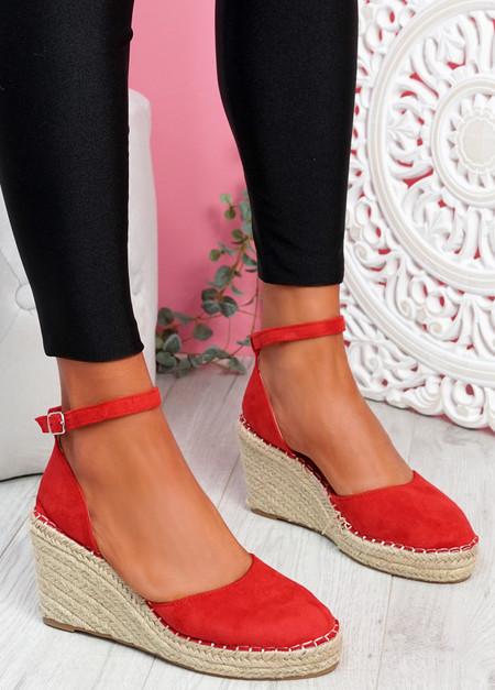 Tifa Red Wedges Platform Sandals