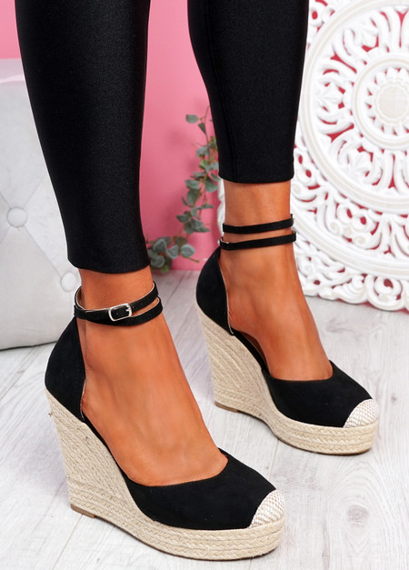 Uty Black High Heel Wedge Sandals