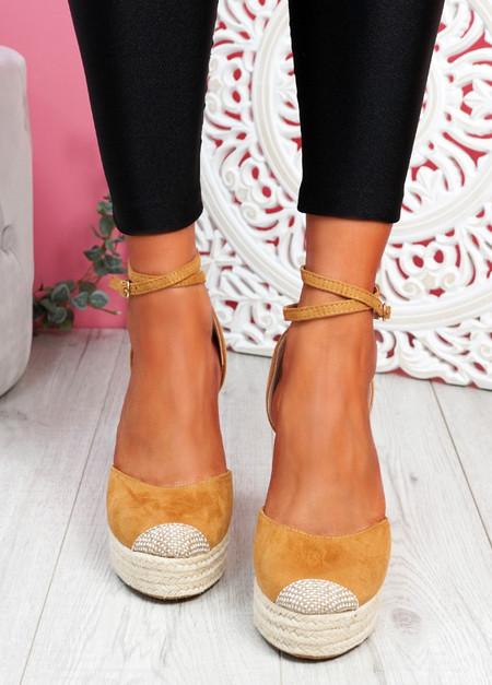 Uty Camel High Heel Wedge Sandals