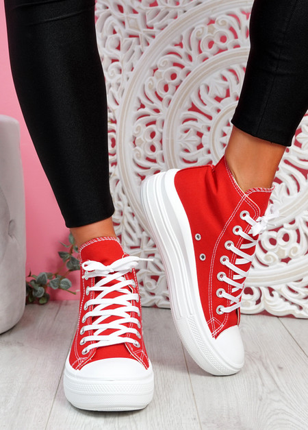 Tuga Red Platform Trainers