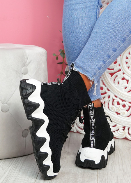 Vira White Black Chunky Sock Sneakers