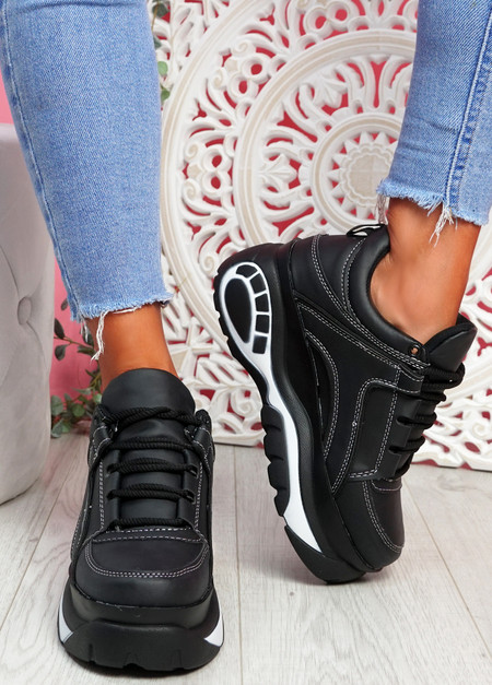 Sella Black White Platform Trainers