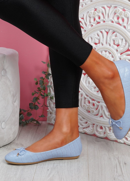 Rono Blue Croc Ballerinas