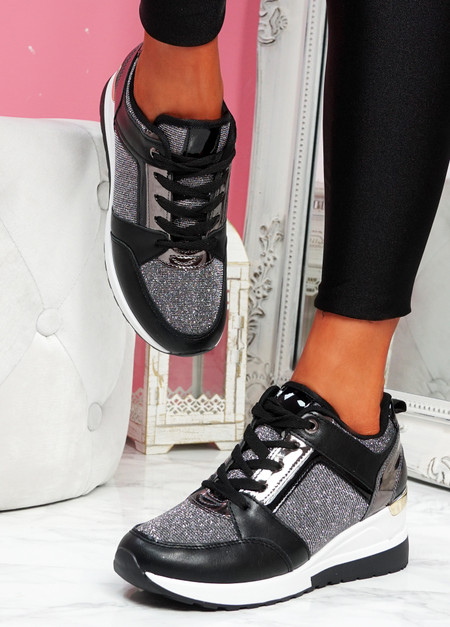 Felly Black Glitter Wedge Trainers