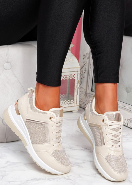 Felly Beige Glitter Wedge Trainers