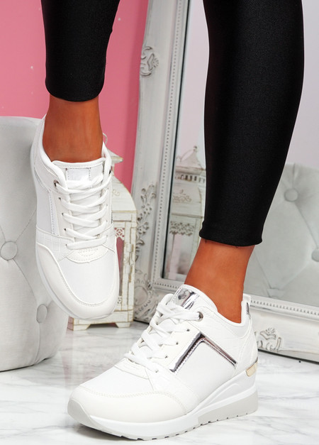 Felly White Croc Wedge Trainers