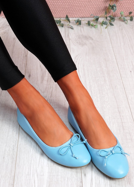 Nimey Light Blue Bow Flat Ballerinas