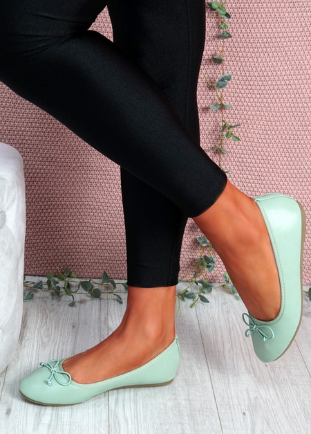 Nimey Light Green Bow Flat Ballerinas
