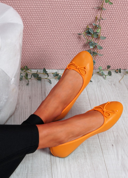 Nimey Orange Bow Flat Ballerinas