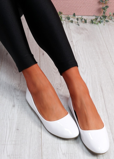 Joby White Patent Flat Ballerinas