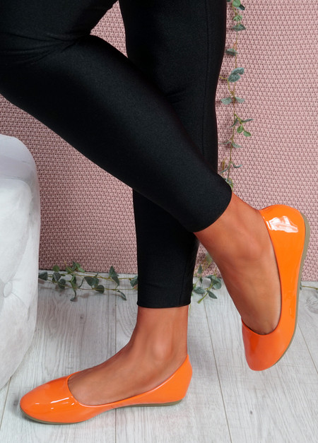 Joby Orange Patent Flat Ballerinas