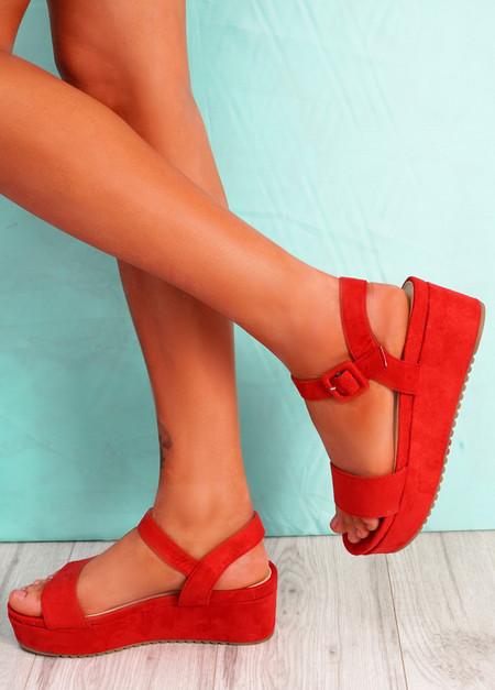 Zonno Red Platform Sandals