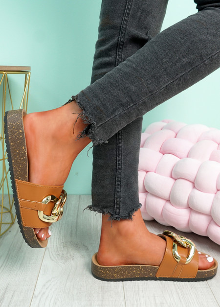Samma Camel Platform Chain Sandals