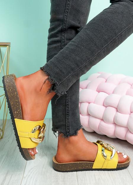Samma Yellow Platform Chain Sandals